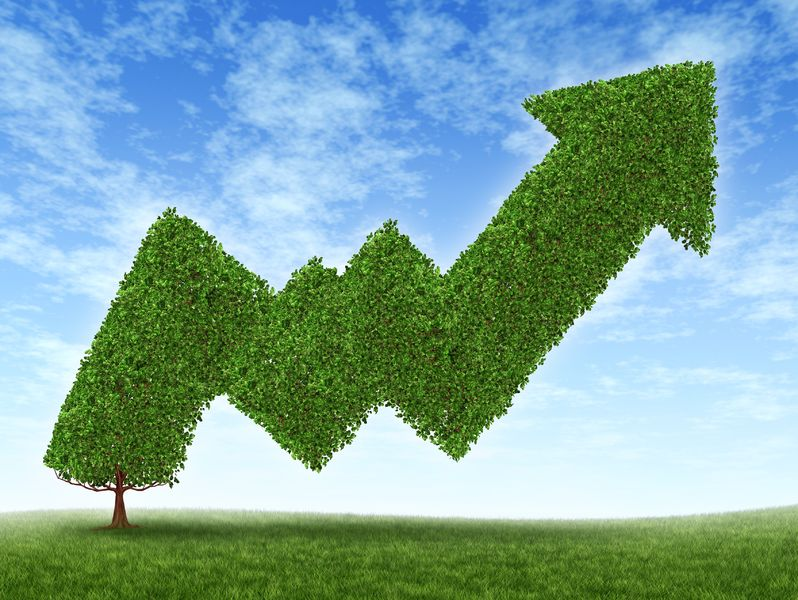 12353889 - stock market growth and success with a growing green tree in the shape of a stock investment graph showing the potential value of equities in trading and resulting in uptrend financial successful business wealth reaching for high goals.